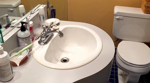 BEFORE – The sink needed some TLC but functioned well. The toilet was a 70's water hog and had to go.